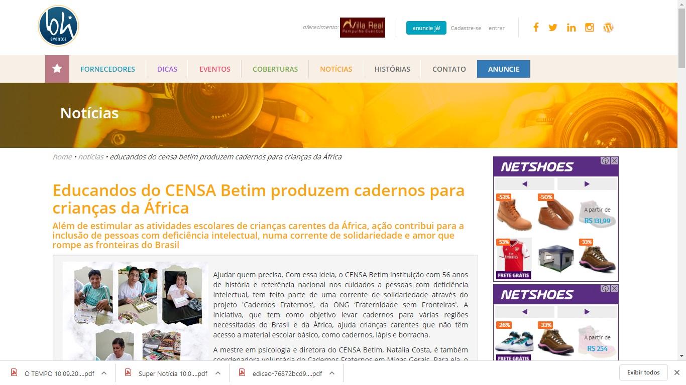 O portal BH Eventos destaca a participação dos educandos do CENSA Betim no projeto Cadernos Fraternos