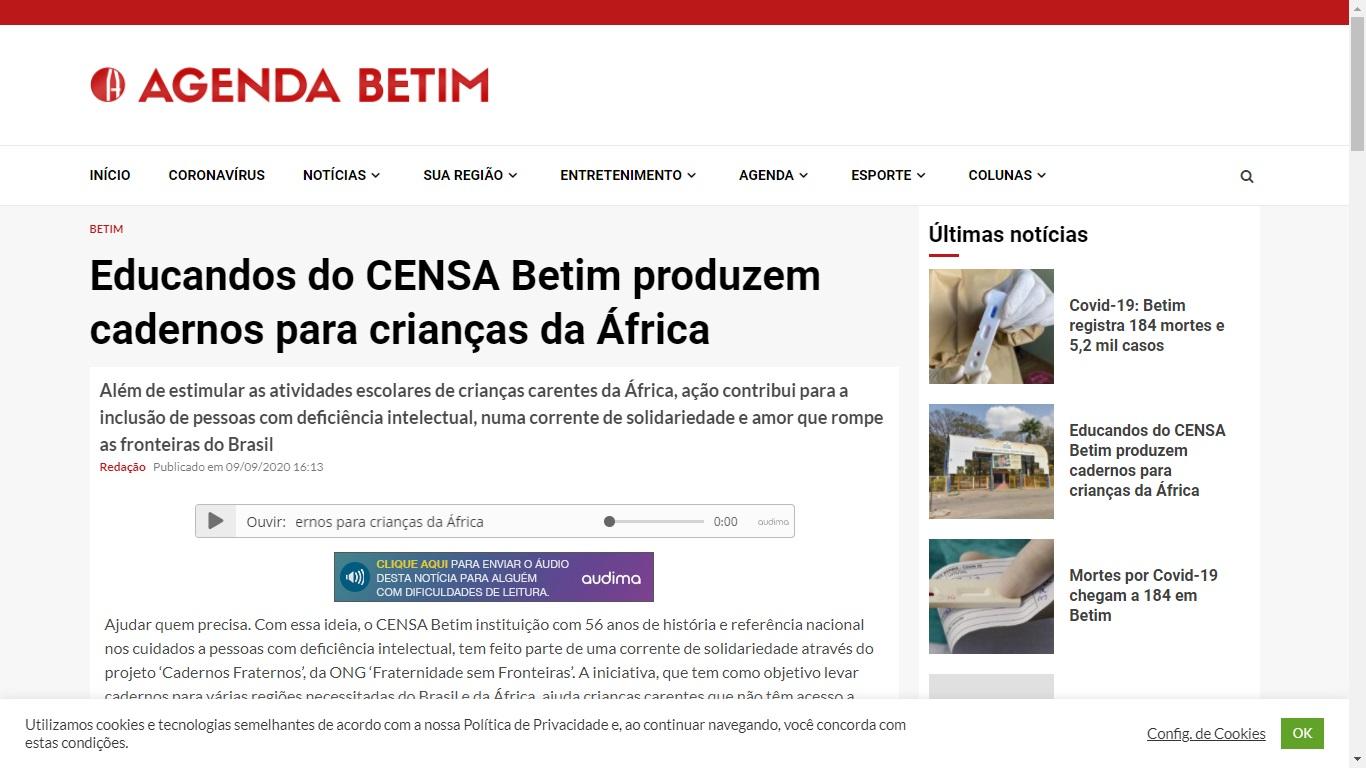 A participação do CENSA no projeto Cadernos Fraternos é notícia no Agenda Betim