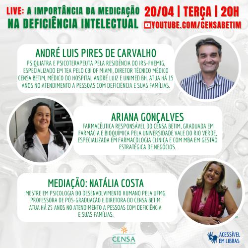 """""""A importância da medicação na deficiência intelectual"""" é o tema da segunda live do CENSA Betim"""