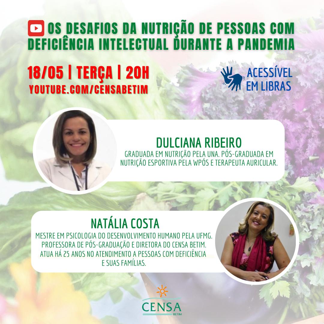 """""""Os desafios da nutrição de pessoas com deficiência intelectual durante a pandemia"""" é o tema da próxima live do CENSA"""